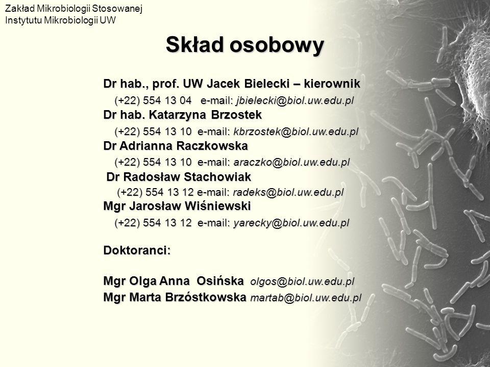 Dr hab., prof. UW Jacek Bielecki – kierownik (+22) 554 13 04 e-mail: jbielecki@biol.uw.edu.pl Dr hab. Katarzyna Brzostek (+22) 554 13 10 e-mail: kbrzo