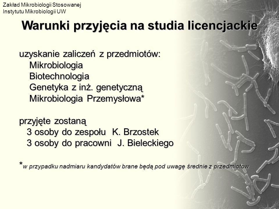 uzyskanie zaliczeń z przedmiotów: Mikrobiologia Mikrobiologia Biotechnologia Biotechnologia Genetyka z inż. genetyczną Genetyka z inż. genetyczną Mikr