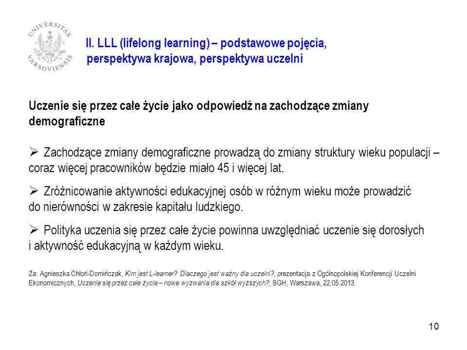 II. LLL (lifelong learning) – podstawowe pojęcia, perspektywa krajowa, perspektywa uczelni Uczenie się przez całe życie jako odpowiedź na zachodzące z