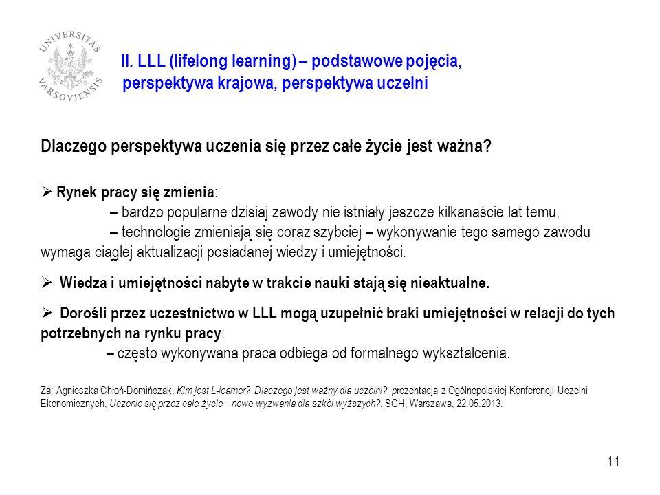 II. LLL (lifelong learning) – podstawowe pojęcia, perspektywa krajowa, perspektywa uczelni Dlaczego perspektywa uczenia się przez całe życie jest ważn
