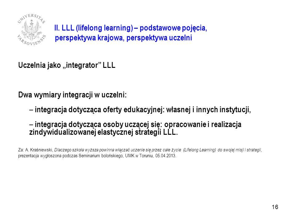 II. LLL (lifelong learning) – podstawowe pojęcia, perspektywa krajowa, perspektywa uczelni Uczelnia jako integrator LLL Dwa wymiary integracji w uczel