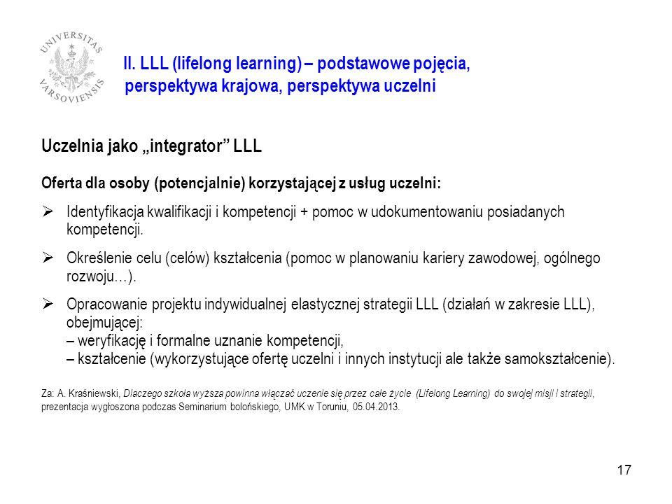 II. II. LLL (lifelong learning) – podstawowe pojęcia, perspektywa krajowa, perspektywa uczelni Uczelnia jako integrator LLL Oferta dla osoby (potencja