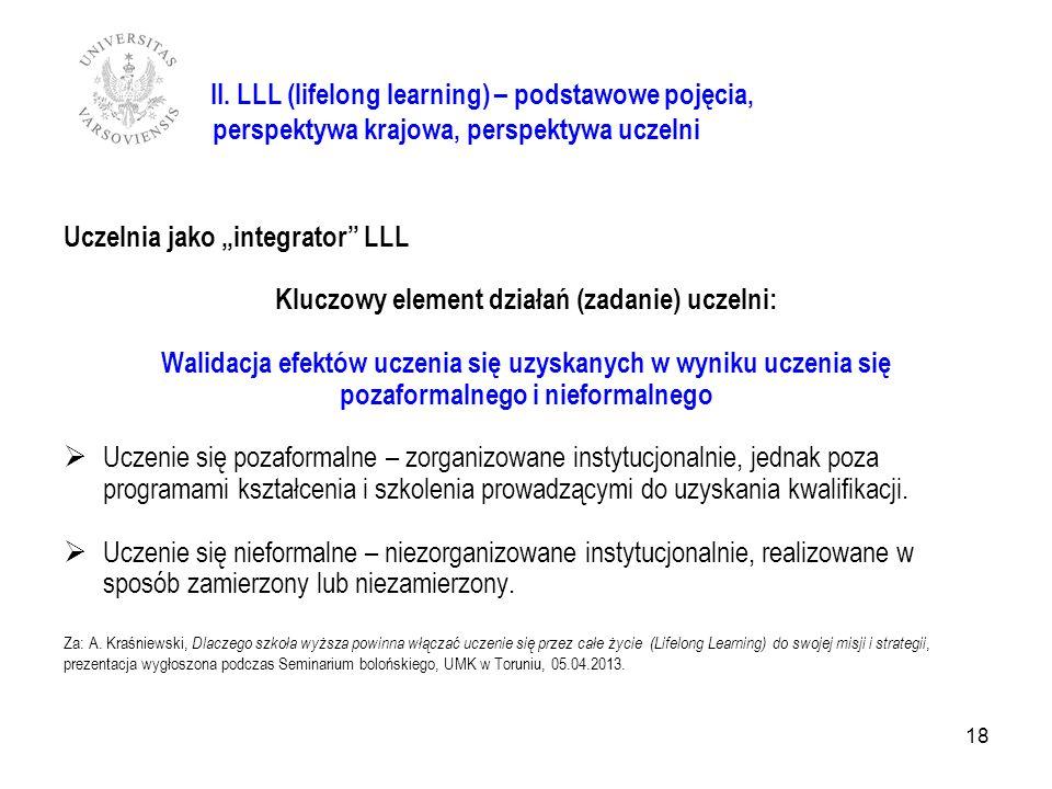 18 Uczelnia jako integrator LLL Kluczowy element działań (zadanie) uczelni: Walidacja efektów uczenia się uzyskanych w wyniku uczenia się pozaformalne