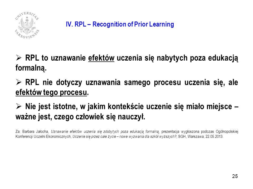 RPL to uznawanie efektów uczenia się nabytych poza edukacją formalną. RPL nie dotyczy uznawania samego procesu uczenia się, ale efektów tego procesu.
