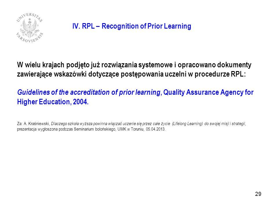 IV. RPL – Recognition of Prior Learning W wielu krajach podjęto już rozwiązania systemowe i opracowano dokumenty zawierające wskazówki dotyczące postę