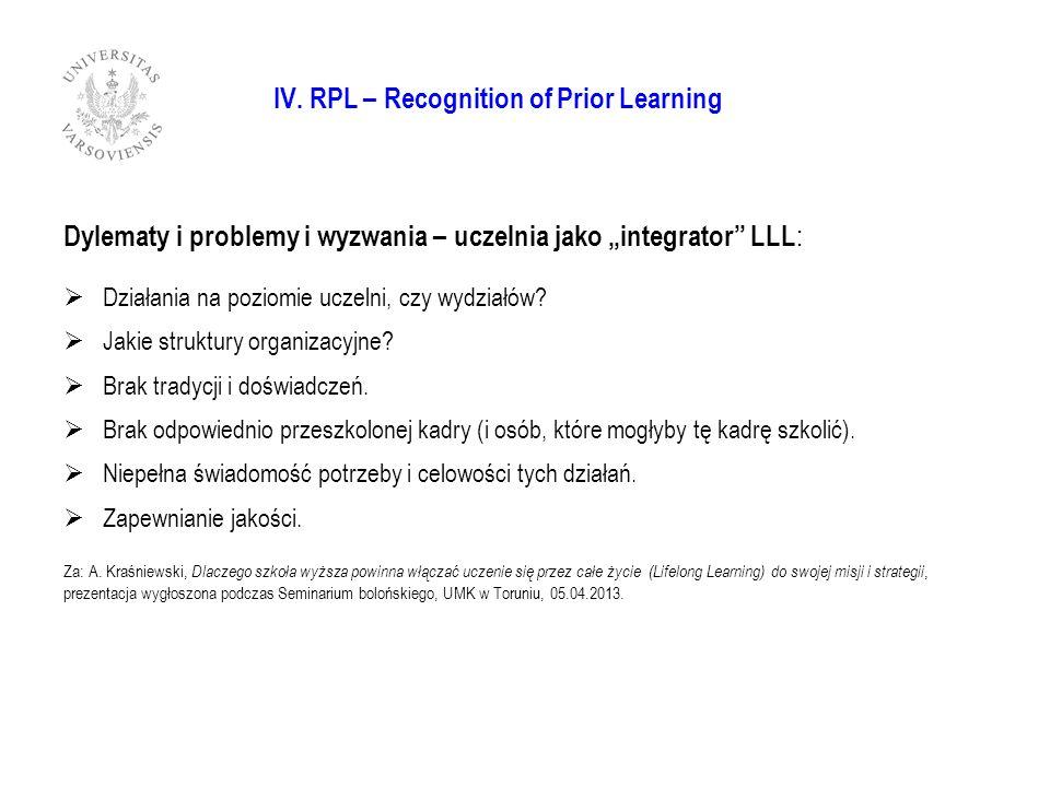 IV. RPL – Recognition of Prior Learning Dylematy i problemy i wyzwania – uczelnia jako integrator LLL : Działania na poziomie uczelni, czy wydziałów?