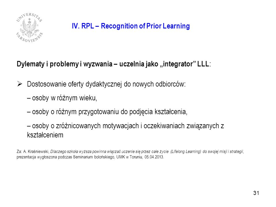 31 IV. RPL – Recognition of Prior Learning Dylematy i problemy i wyzwania – uczelnia jako integrator LLL : Dostosowanie oferty dydaktycznej do nowych