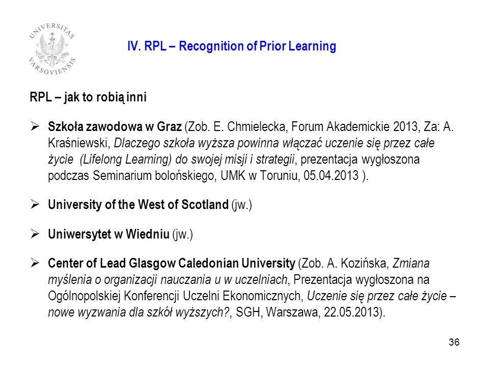 36 IV. RPL – Recognition of Prior Learning RPL – jak to robią inni Szkoła zawodowa w Graz (Zob. E. Chmielecka, Forum Akademickie 2013, Za: A. Kraśniew