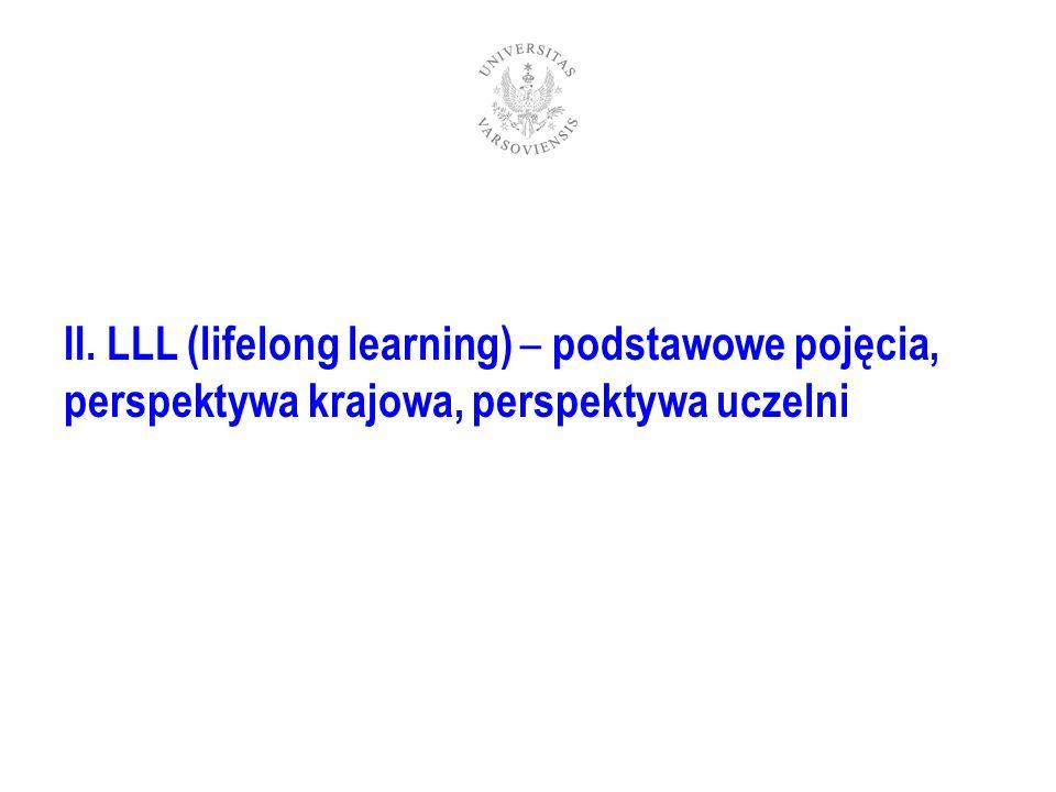 II. LLL (lifelong learning) – podstawowe pojęcia, perspektywa krajowa, perspektywa uczelni