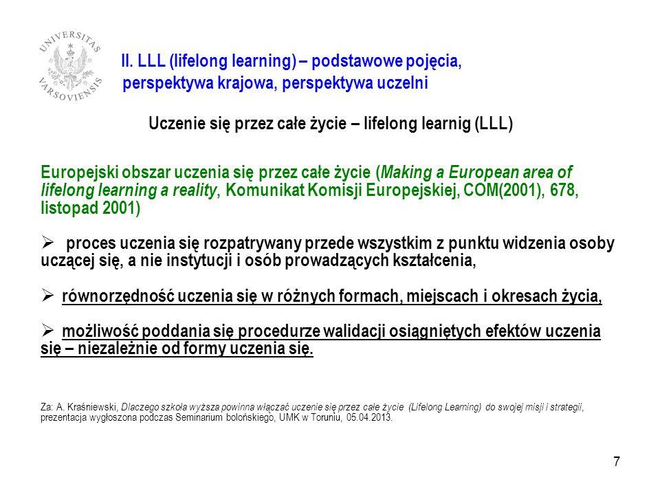 II. LLL (lifelong learning) – podstawowe pojęcia, perspektywa krajowa, perspektywa uczelni Uczenie się przez całe życie – lifelong learnig (LLL) Europ