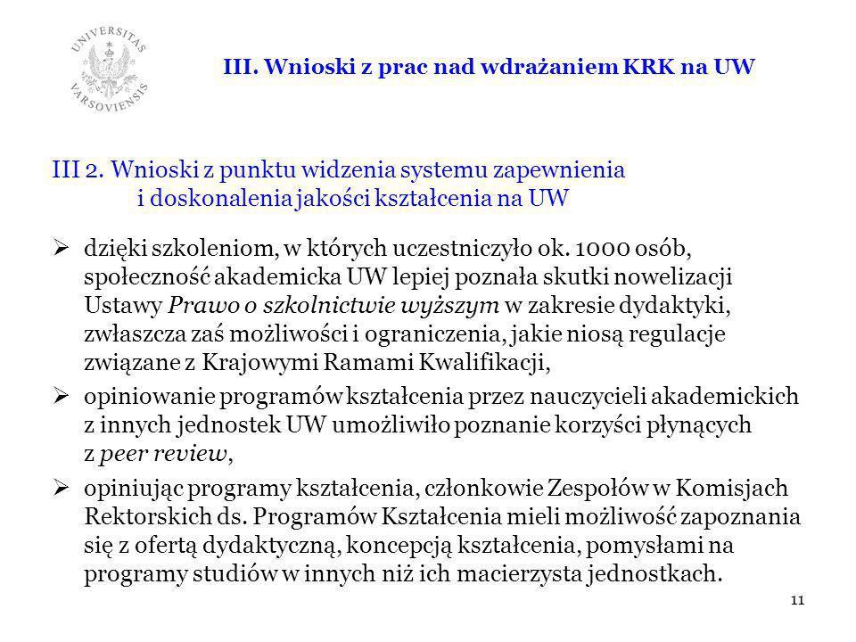 III. Wnioski z prac nad wdrażaniem KRK na UW III 2. Wnioski z punktu widzenia systemu zapewnienia i doskonalenia jakości kształcenia na UW dzięki szko