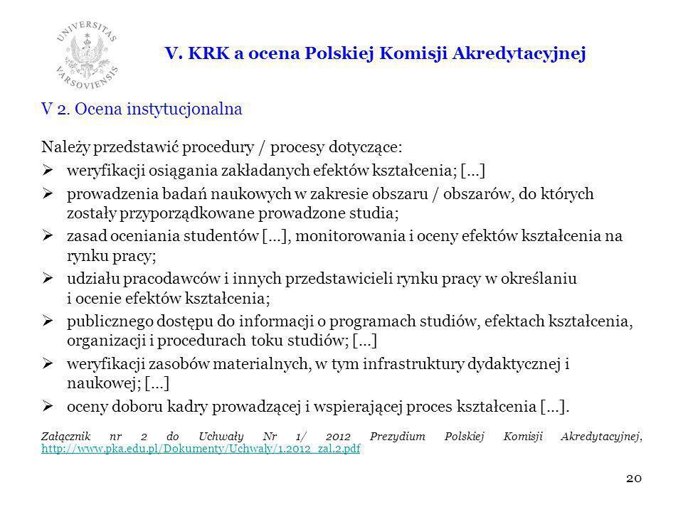 V. KRK a ocena Polskiej Komisji Akredytacyjnej V 2. Ocena instytucjonalna Należy przedstawić procedury / procesy dotyczące: weryfikacji osiągania zakł