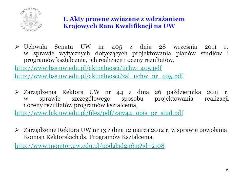 I. Akty prawne związane z wdrażaniem Krajowych Ram Kwalifikacji na UW Uchwała Senatu UW nr 405 z dnia 28 września 2011 r. w sprawie wytycznych dotyczą