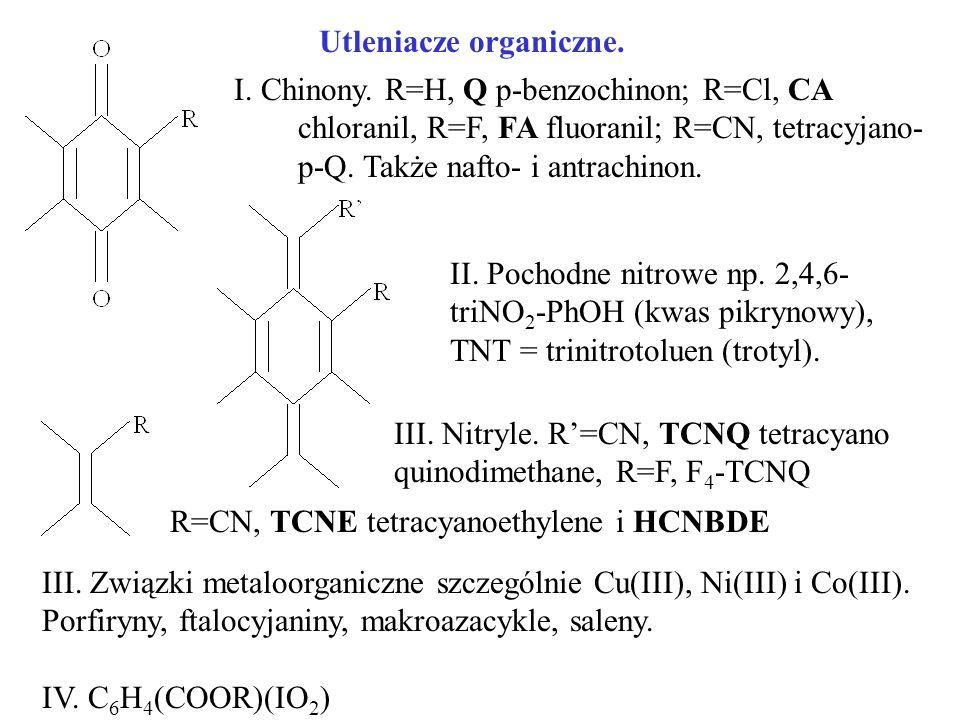 Utleniacze organiczne. R=CN, TCNE tetracyanoethylene i HCNBDE III. Nitryle. R=CN, TCNQ tetracyano quinodimethane, R=F, F 4 -TCNQ I. Chinony. R=H, Q p-