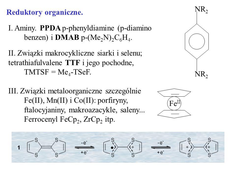 Reduktory organiczne. I. Aminy. PPDA p-phenyldiamine (p-diamino benzen) i DMAB p-(Me 2 N) 2 C 6 H 4. II. Związki makrocykliczne siarki i selenu; tetra