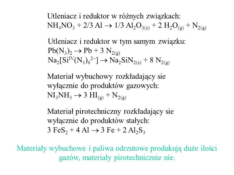 Utleniacz i reduktor w różnych związkach: NH 4 NO 3 + 2/3 Al 1/3 Al 2 O 3(s) + 2 H 2 O (g) + N 2(g) Utleniacz i reduktor w tym samym związku: Pb(N 3 )