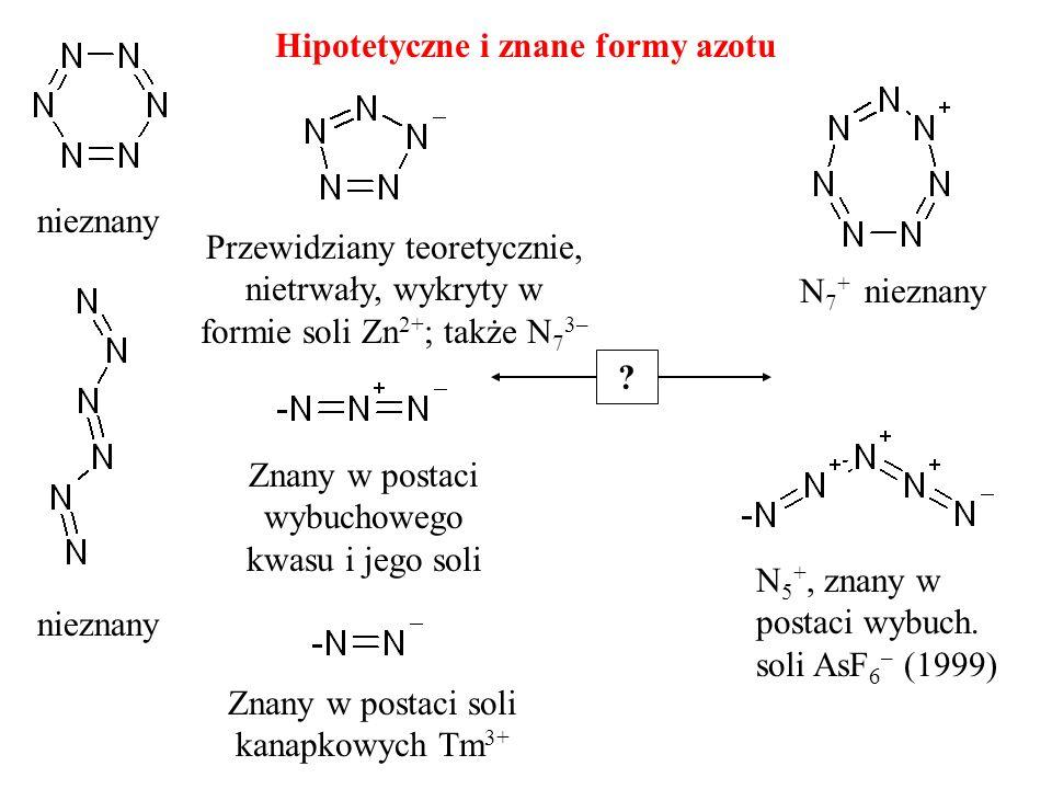 Hipotetyczne i znane formy azotu nieznany N 5 +, znany w postaci wybuch. soli AsF 6 – (1999) Znany w postaci wybuchowego kwasu i jego soli nieznany Pr