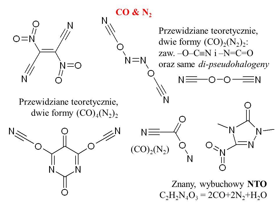 CO & N 2 Znany, wybuchowy NTO C 2 H 2 N 4 O 3 = 2CO+2N 2 +H 2 O Przewidziane teoretycznie, dwie formy (CO) 4 (N 2 ) 2 Przewidziane teoretycznie, dwie