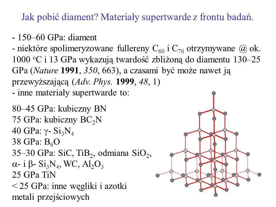 Jak pobić diament? Materiały supertwarde z frontu badań. - 150–60 GPa: diament - niektóre spolimeryzowane fullereny C 60 i C 70 otrzymywane @ ok. 1000