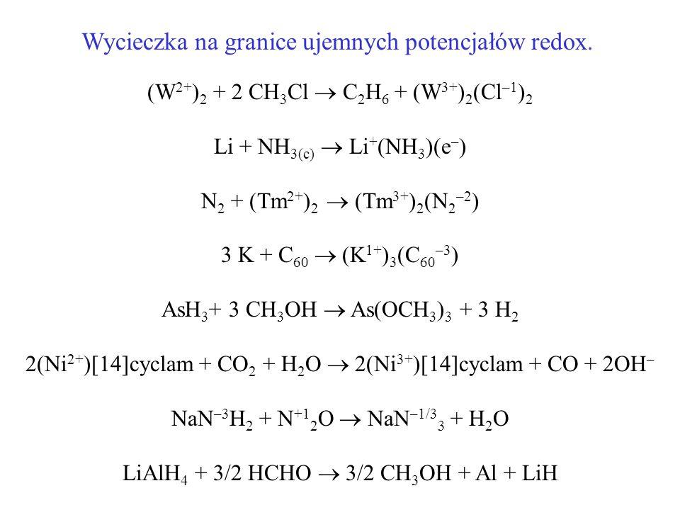 (W 2+ ) 2 + 2 CH 3 Cl C 2 H 6 + (W 3+ ) 2 (Cl –1 ) 2 Li + NH 3(c) Li + (NH 3 )(e – ) N 2 + (Tm 2+ ) 2 (Tm 3+ ) 2 (N 2 –2 ) 3 K + C 60 (K 1+ ) 3 (C 60
