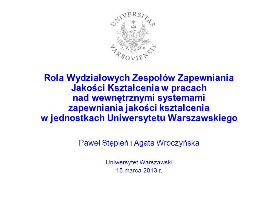 Rola Wydziałowych Zespołów Zapewniania Jakości Kształcenia w pracach nad wewnętrznymi systemami zapewniania jakości kształcenia w jednostkach Uniwersy