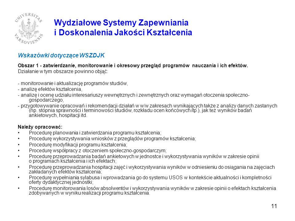 11 Wskazówki dotyczące WSZDJK Obszar 1 - zatwierdzanie, monitorowanie i okresowy przegląd programów nauczania i ich efektów. Działanie w tym obszarze