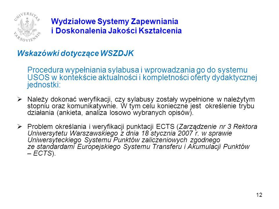 12 Wskazówki dotyczące WSZDJK Procedura wypełniania sylabusa i wprowadzania go do systemu USOS w kontekście aktualności i kompletności oferty dydaktyc