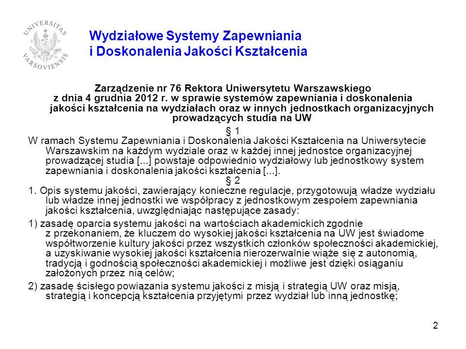 2 Zarządzenie nr 76 Rektora Uniwersytetu Warszawskiego z dnia 4 grudnia 2012 r. w sprawie systemów zapewniania i doskonalenia jakości kształcenia na w