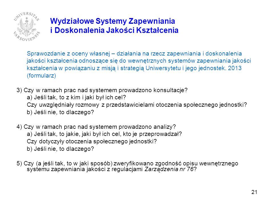21 Sprawozdanie z oceny własnej – działania na rzecz zapewniania i doskonalenia jakości kształcenia odnoszące się do wewnętrznych systemów zapewniania