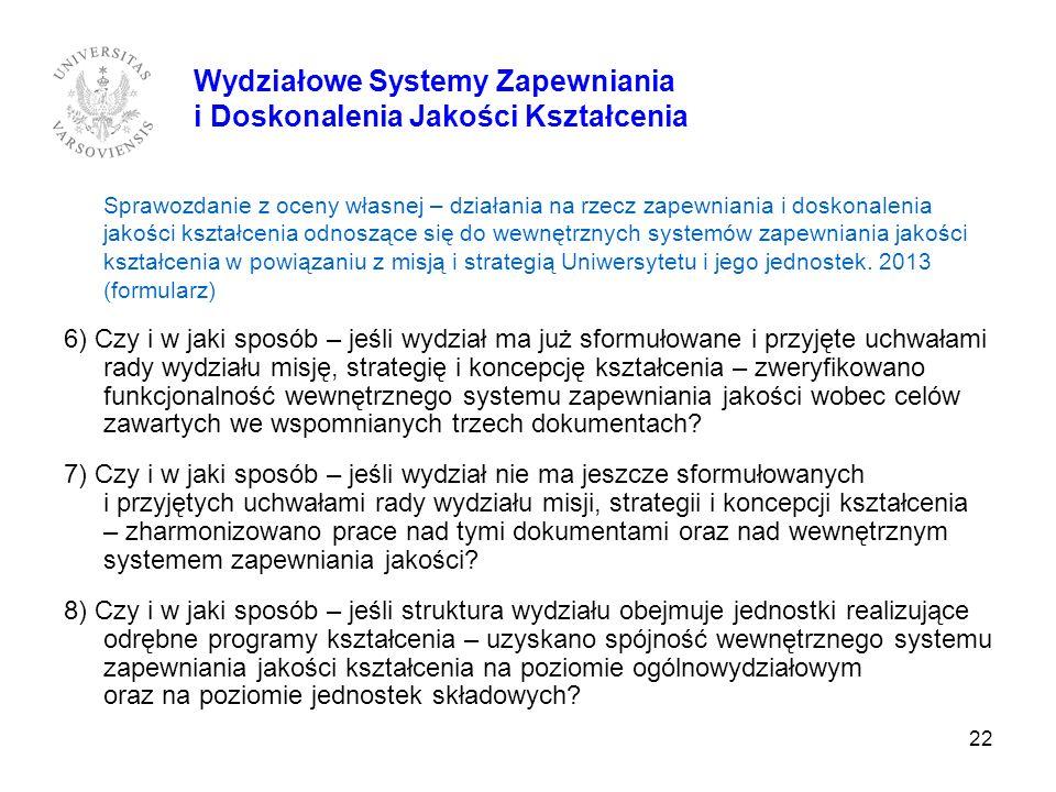 22 Wydziałowe Systemy Zapewniania i Doskonalenia Jakości Kształcenia Sprawozdanie z oceny własnej – działania na rzecz zapewniania i doskonalenia jako