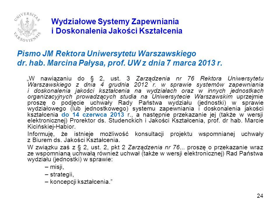 24 Pismo JM Rektora Uniwersytetu Warszawskiego dr. hab. Marcina Pałysa, prof. UW z dnia 7 marca 2013 r. W nawiązaniu do § 2, ust. 3 Zarządzenia nr 76