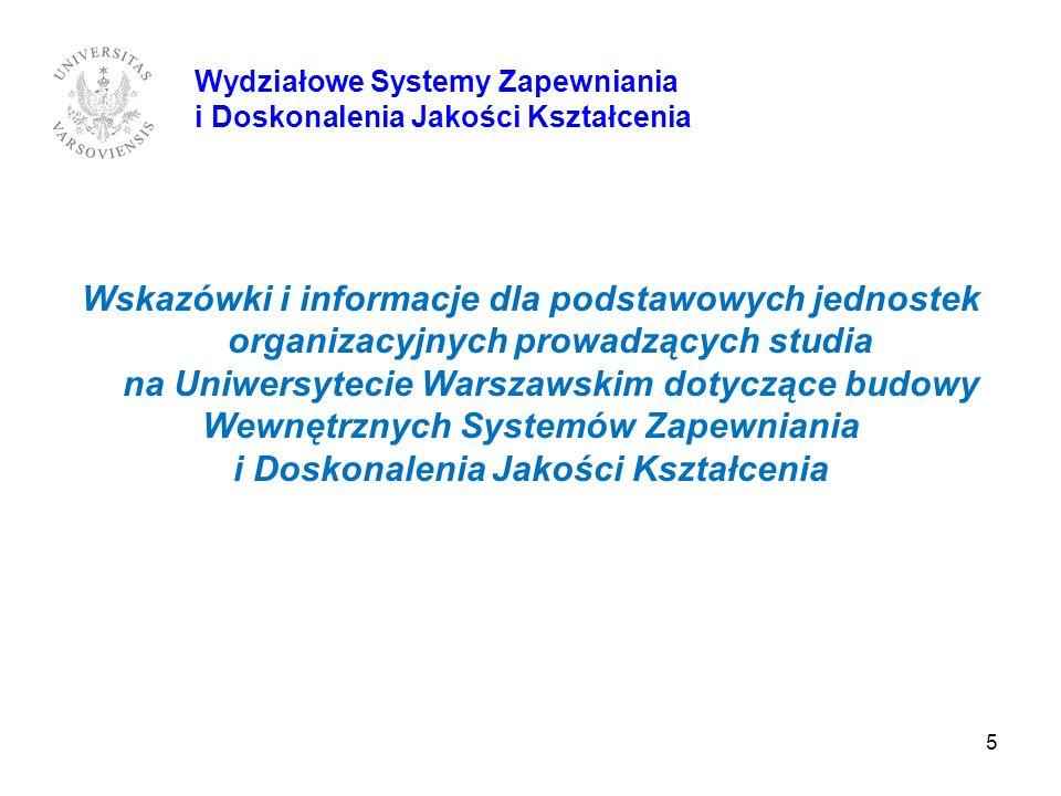 5 Wskazówki i informacje dla podstawowych jednostek organizacyjnych prowadzących studia na Uniwersytecie Warszawskim dotyczące budowy Wewnętrznych Sys