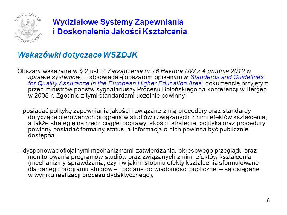 6 Wydziałowe Systemy Zapewniania i Doskonalenia Jakości Kształcenia Wskazówki dotyczące WSZDJK Obszary wskazane w § 2 ust. 2 Zarządzenia nr 76 Rektora