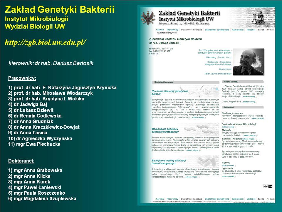 Zakład Genetyki Bakterii Instytut Mikrobiologii Wydział Biologii UW kierownik: dr hab. Dariusz Bartosik http://zgb.biol.uw.edu.pl/ Pracownicy: 1) prof