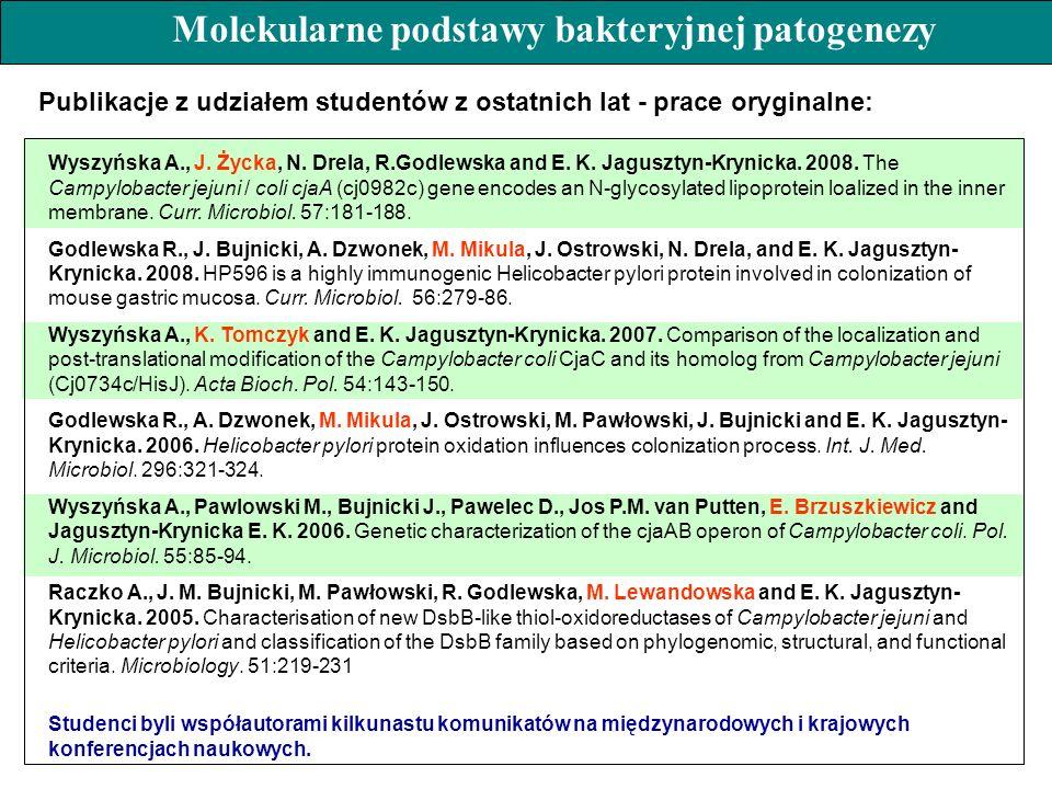 Wyszyńska A., J. Życka, N. Drela, R.Godlewska and E. K. Jagusztyn-Krynicka. 2008. The Campylobacter jejuni / coli cjaA (cj0982c) gene encodes an N-gly