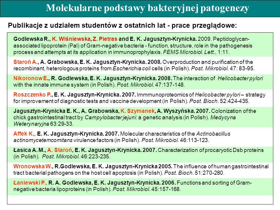 Godlewska R., K. Wiśniewska, Z. Pietras and E. K. Jagusztyn-Krynicka. 2009. Peptidoglycan- associated lipoprotein (Pal) of Gram-negative bacteria - fu