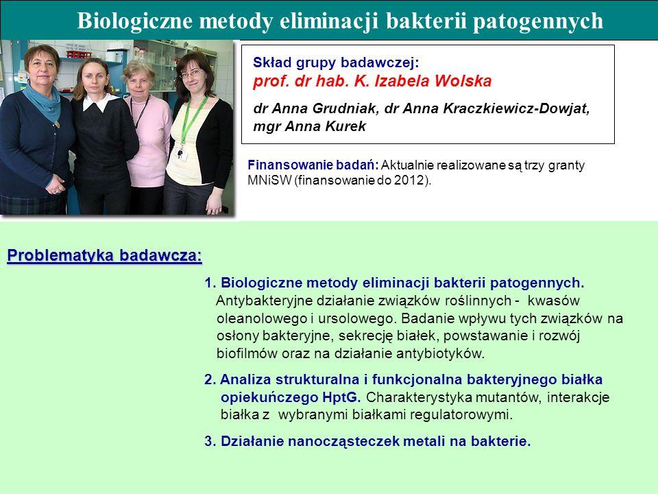 Problematyka badawcza: 1. Biologiczne metody eliminacji bakterii patogennych. Antybakteryjne działanie związków roślinnych - kwasów oleanolowego i urs