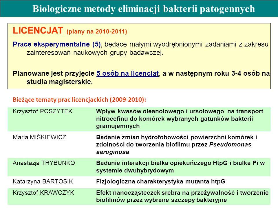 LICENCJAT (plany na 2010-2011) Prace eksperymentalne (5), będące małymi wyodrębnionymi zadaniami z zakresu zainteresowań naukowych grupy badawczej. Pl