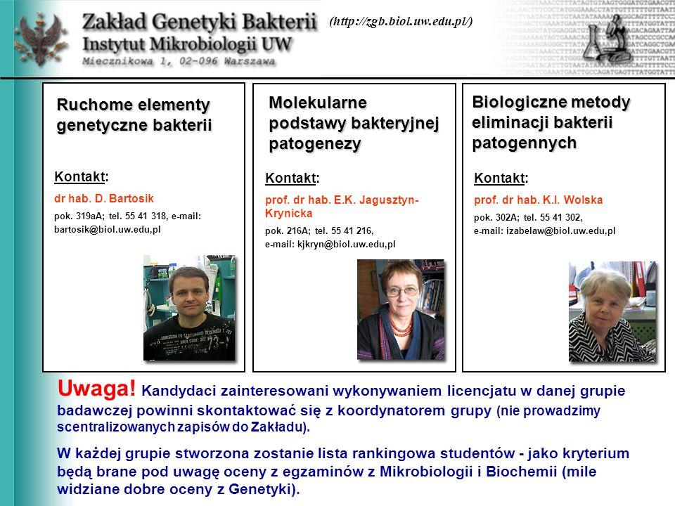 (http://zgb.biol.uw.edu.pl/) Ruchome elementy genetyczne bakterii Molekularne podstawy bakteryjnej patogenezy Biologiczne metody eliminacji bakterii p