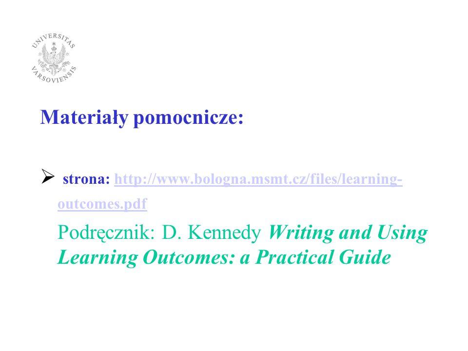 Materiały pomocnicze: strona: http://www.bologna.msmt.cz/files/learning- outcomes.pdfhttp://www.bologna.msmt.cz/files/learning- outcomes.pdf Podręczni