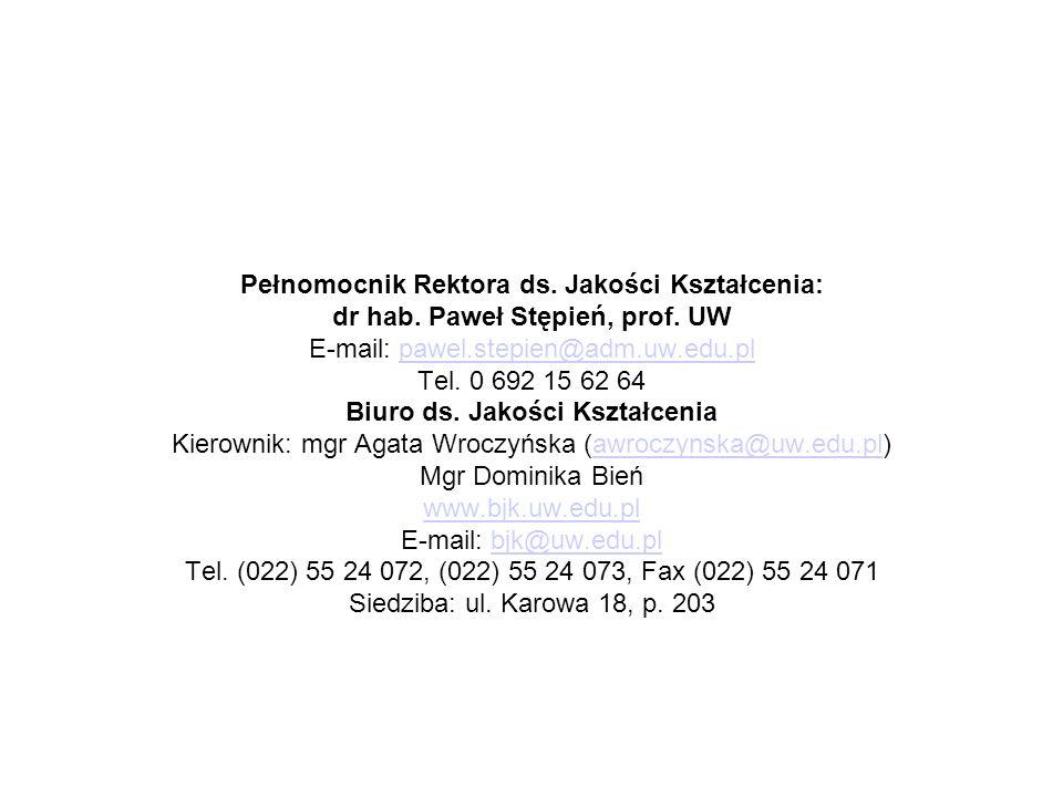 Pełnomocnik Rektora ds. Jakości Kształcenia: dr hab. Paweł Stępień, prof. UW E-mail: pawel.stepien@adm.uw.edu.plpawel.stepien@adm.uw.edu.pl Tel. 0 692