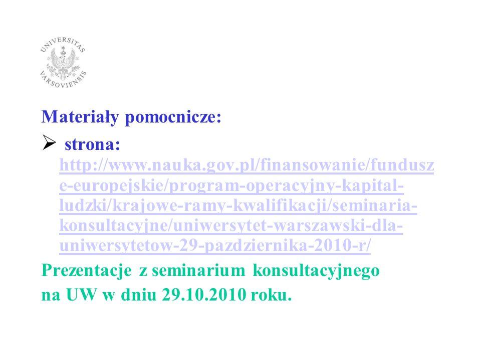 Materiały pomocnicze: strona: http://www.nauka.gov.pl/finansowanie/fundusz e-europejskie/program-operacyjny-kapital- ludzki/krajowe-ramy-kwalifikacji/