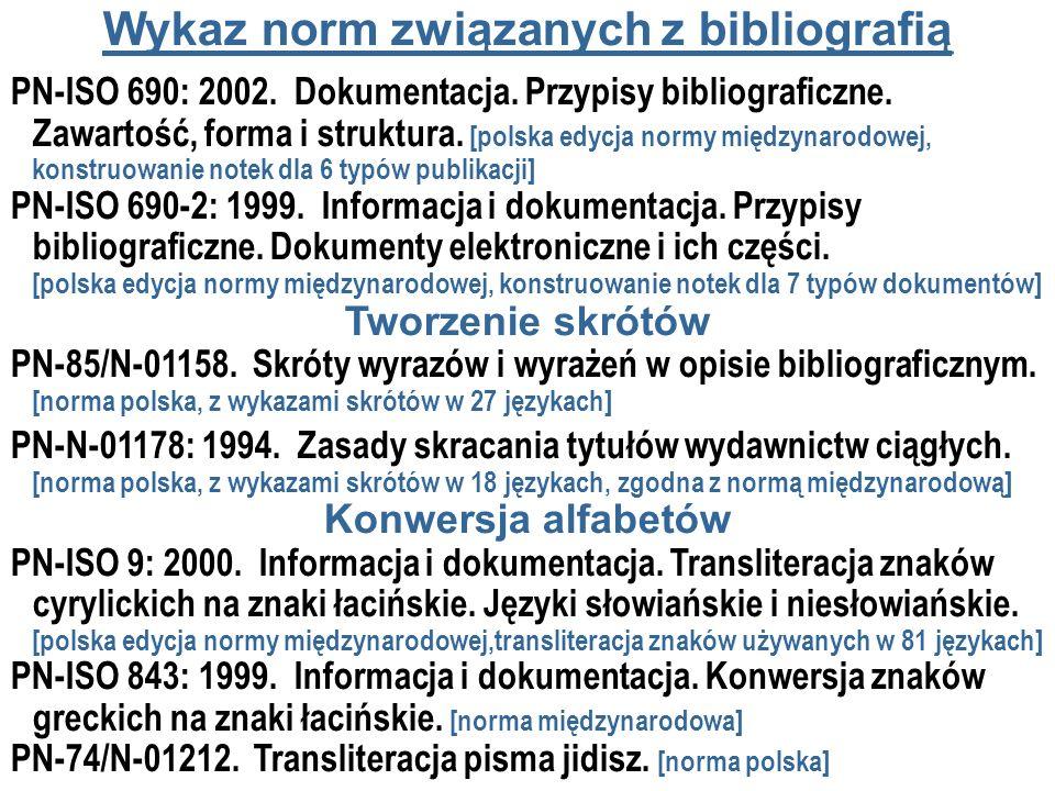 Wykaz norm związanych z bibliografią PN-ISO 690: 2002. Dokumentacja. Przypisy bibliograficzne. Zawartość, forma i struktura. [polska edycja normy międ