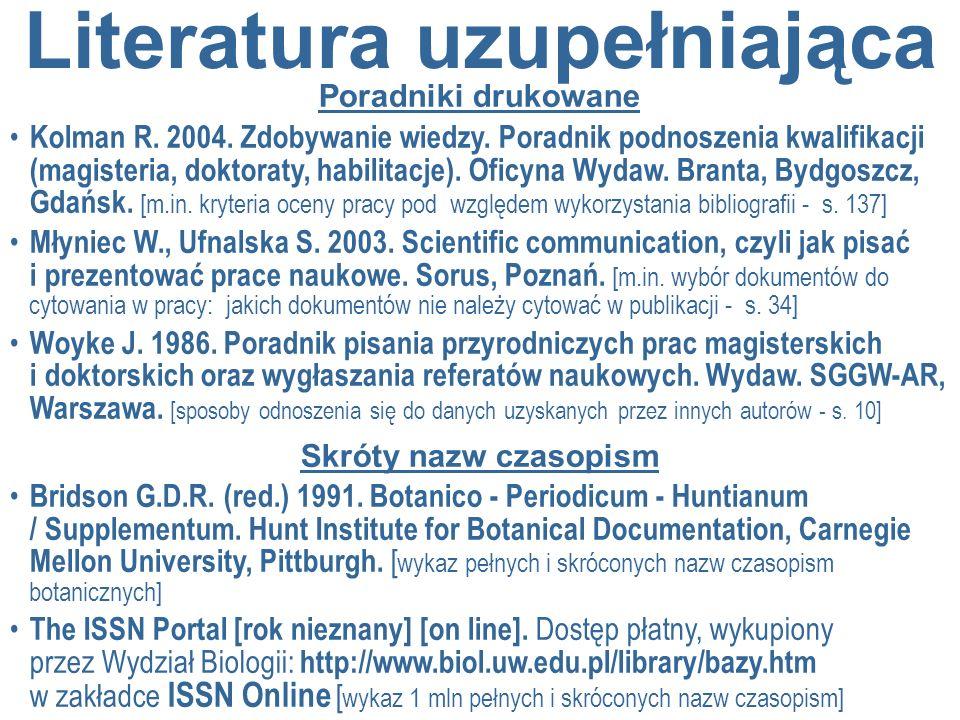 Literatura uzupełniająca Poradniki drukowane Kolman R. 2004. Zdobywanie wiedzy. Poradnik podnoszenia kwalifikacji (magisteria, doktoraty, habilitacje)