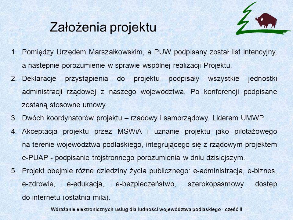 6.Projekt będzie kontynuacją i rozbudową projektu Wdrażanie elektronicznych usług dla ludności województwa podlaskiego, który w ramach funduszy ZPORR zainicjował budowę społeczeństwa informacyjnego w województwie.