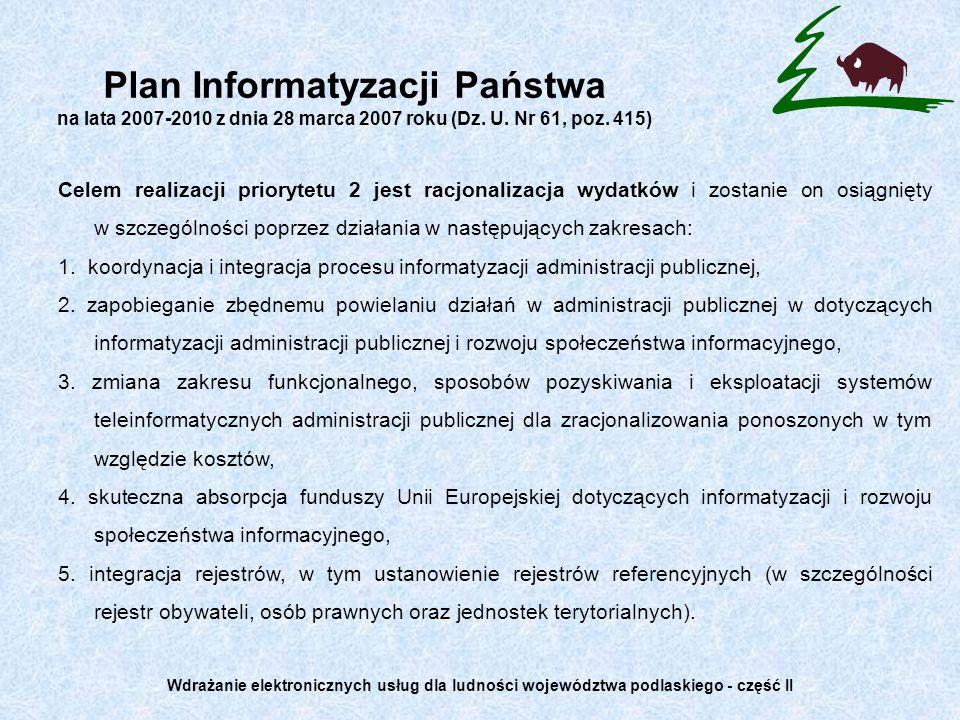 Plan Informatyzacji Państwa na lata 2007-2010 z dnia 28 marca 2007 roku (Dz. U. Nr 61, poz. 415) Celem realizacji priorytetu 2 jest racjonalizacja wyd