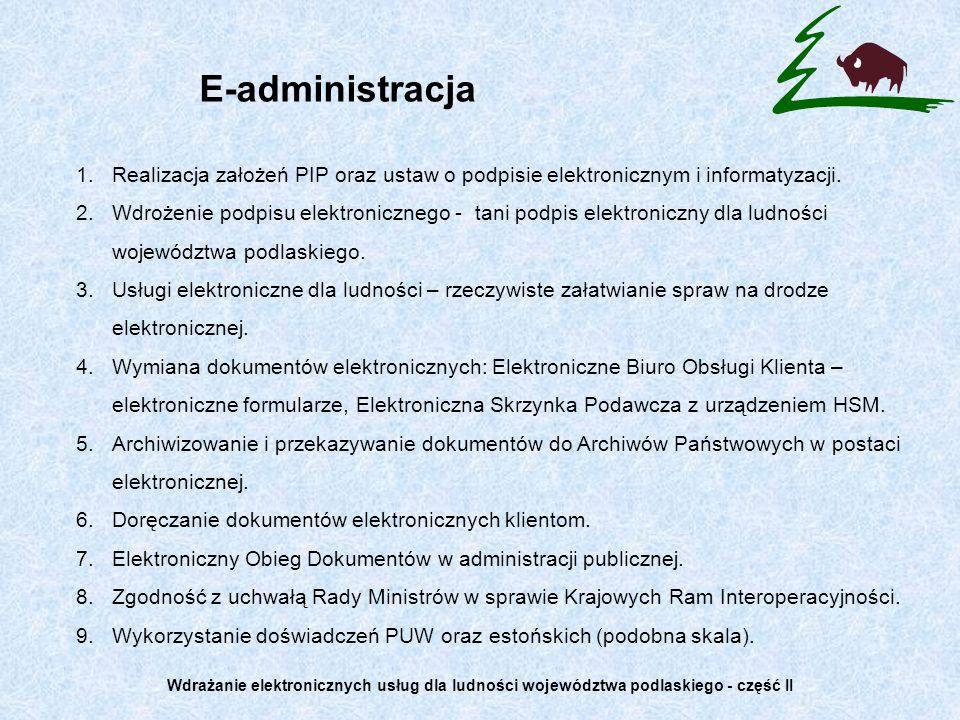 Korzystanie z doświadczeń Podlaskiego Urzędu Wojewódzkiego Artykuł 58 ustawy o podpisie elektronicznym: Elektroniczne Biuro Obsługi Klienta PUW (e-BOK) ebok.bialystok.uw.gov.pl Artykuł 9 ustawy o podpisie elektronicznym: Centrum Certyfikacji PUW – certyfikaty niekwalifikowane Artykuł 16 ustawy o informatyzacji: Elektroniczna Skrzynka Podawcza PUW (ESP) esp.bialystok.uw.gov.pl Artykuł 39 1 KPA: Doręczanie pism w formie dokumentów elektronicznych System Elektronicznego Obiegu Dokumentów w PUW (EOD): Skanowanie i walidacja dokumentów, Workflow Archiwizowanie dokumentów zgodnie z nowymi rozporządzeniami Wdrażanie elektronicznych usług dla ludności województwa podlaskiego - część II
