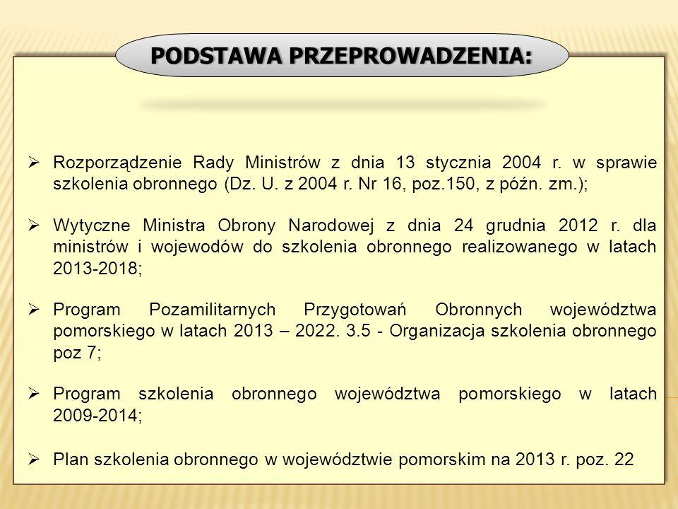 Rozporządzenie Rady Ministrów z dnia 13 stycznia 2004 r. w sprawie szkolenia obronnego (Dz. U. z 2004 r. Nr 16, poz.150, z późn. zm.); Wytyczne Minist