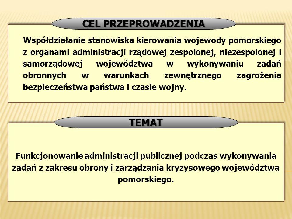 Funkcjonowanie administracji publicznej podczas wykonywania zadań z zakresu obrony i zarządzania kryzysowego województwa pomorskiego. TEMAT Współdział
