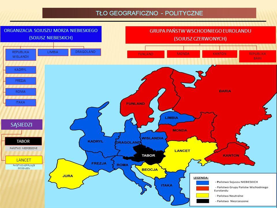 TŁO GEOGRAFICZNO - POLITYCZNE GRUPA PAŃSTW WSCHODNIEGO EUROLANDU (SOJUSZ CZERWONYCH) FUNLAND KANTONREPUBLIKA BARII MONDA LIMBIA DRAGOLAND PAŃSTWO NIEZ
